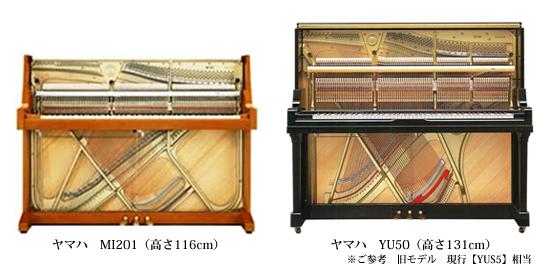 YAMAHAアップライトピアノ俯瞰図